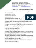 Que Phong Thuy Cho Gia Chu Khanh Nam 1962