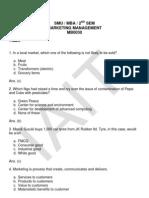 Smu Mba Marketing Management Semester2 Questionpaper