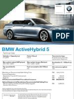 BMW ActiveHybrid 5 Specs Sheet