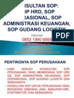 Konsultan Sop, Sop Hrd, Sop Operasional, Sop Administrasi Keuangan, Sop Gudang Logistik