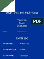 TAMN 100 - Course Introduction