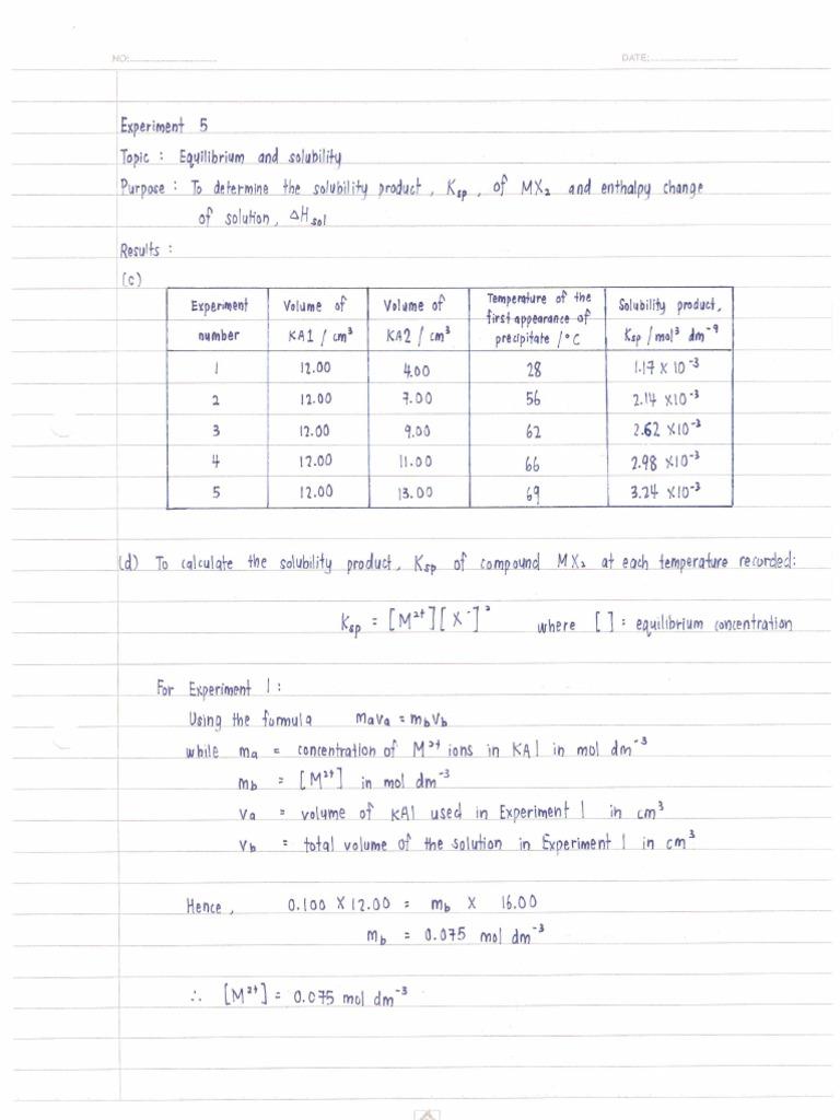 chemistry coursework stpm experiment 5
