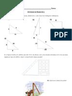 Atividades de matemática - Teorema de pitágoras