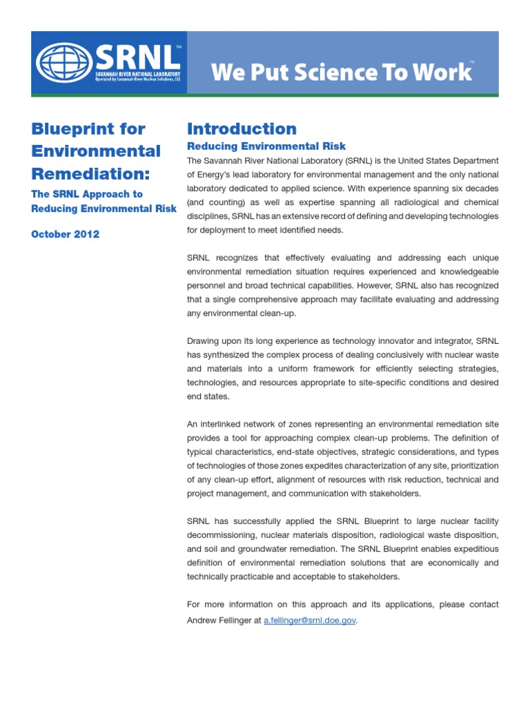 Blueprint for environmental remediation the srnl approach to blueprint for environmental remediation the srnl approach to reducing environmental risk radioactive contamination environmental remediation malvernweather Images