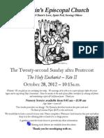 St. Martin's Episcopal Church Worship Bulletin - Oct. 28, 2012 - 10:15 a.m.