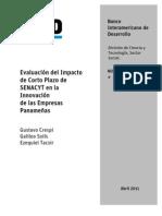 Evaluación del Impacto de Corto Plazo de SENACYT en la Innovación de las Empresas Panameñas - Banco Interamericano de Desarrollo