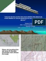 Análisis de Evaluación nero El Fundo Minero Gavilanes Mpio San Dimas, Durango