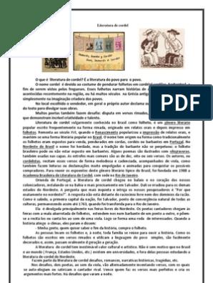 8º Ano Exerciciosliteratura De Cordel Ficcao E Literatura