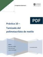 Práctica 10 - Tamizado del polimetacrilato de metilo1