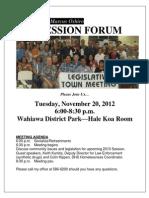 Wahiawa Pre-session Forum 11/20/12