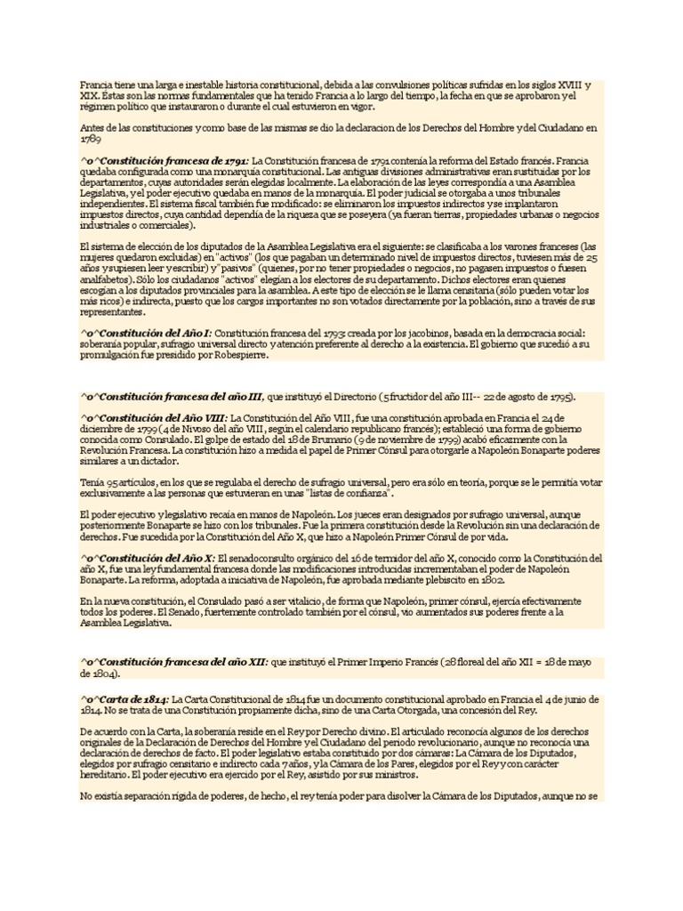 Historia Constitucional de Francia