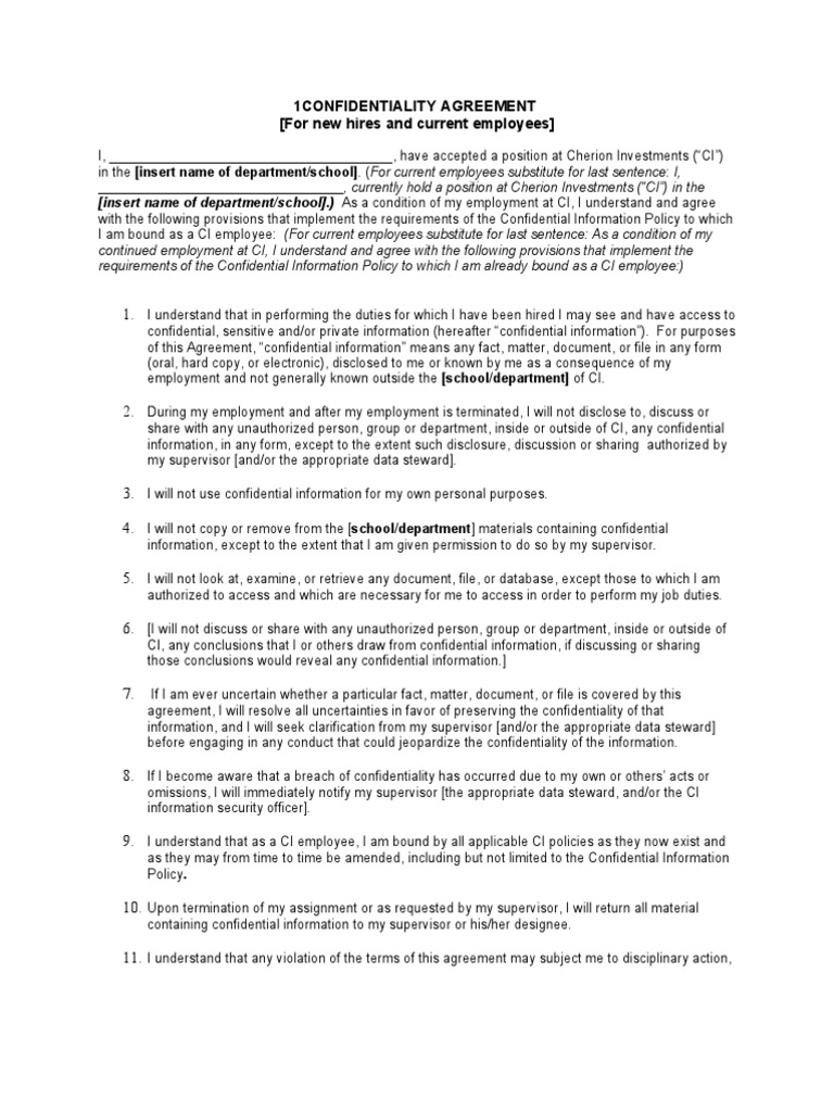 Confidentiality Agreement 1 | Confidentiality | Non Disclosure Agreement