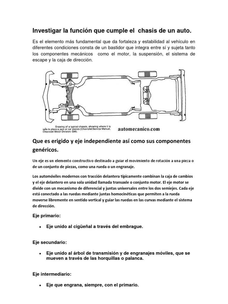 Investigar la función que cumple el chasis de un auto