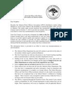 Atherton Council Letter to Residents Regarding APOA Political Activities