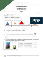 Evaluare Initiala Matematica Cls I Test