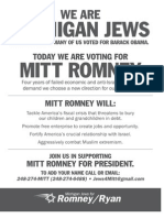 Detroit Jewish News Ad for Romney