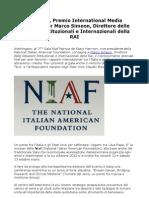 Marco Simeon (Rai), Rapporti Media Italia USA, Riconoscimento Speciale Niaf
