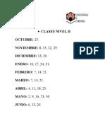 DÍAS DE  CLASES NIVEL II