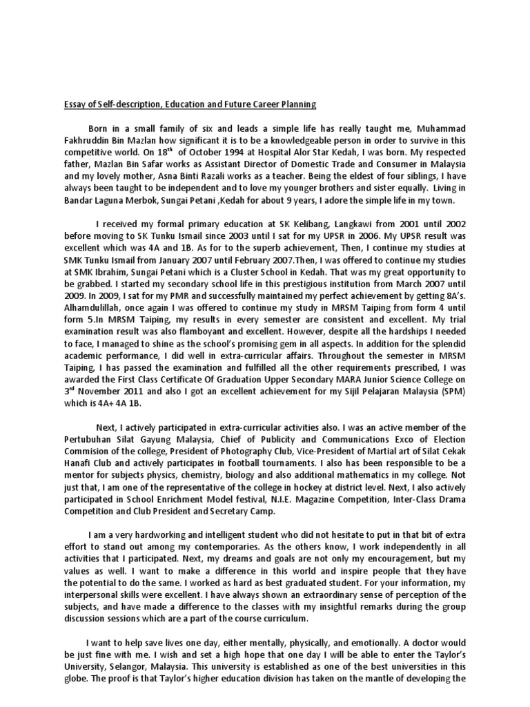 self- descriptive college essay See an example of a college application essay, with a point-by-point critique.