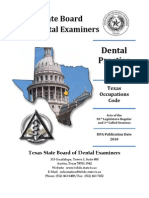 Texas Dental Practice Act in effect in October 2012