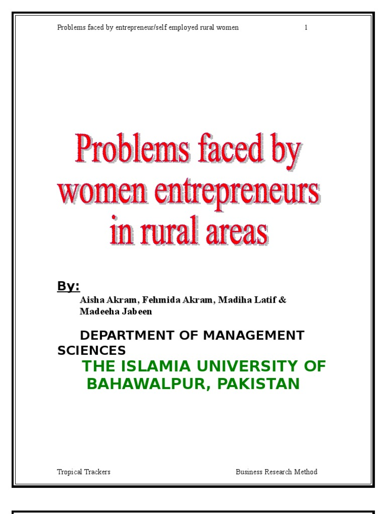 questionnaire on the problems of women entrpreneurs in india Small and medium scale enterprises in developing problems of women entrepreneurs in india the entrepreneurial process is the same for men and.