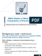 BSILI Habits of Mind CoP Indicators Workgroup
