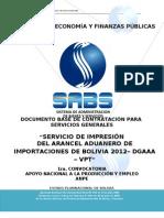 Arancel Oficial Bolivia 2012