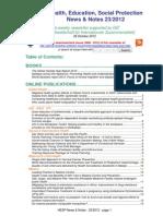 Health, Education, Social Protection News & Notes 23/2012