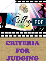 Criteria for Judging Mr & Ms College 2012