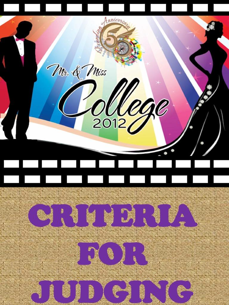 Criteria for judging mr ms college 2012 stopboris Image collections