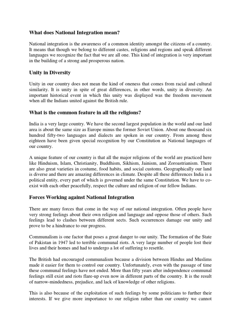 national integration essay essay on national integration in otobakimbeylikduzucom