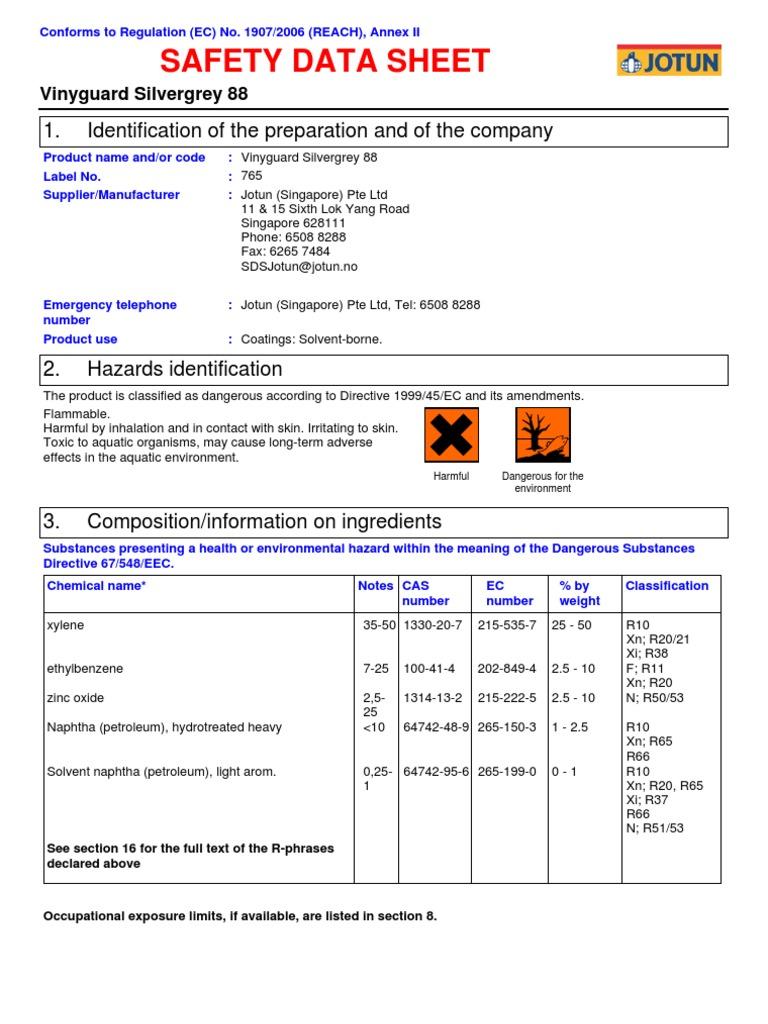 Sds Vinyguard Silvergrey 88 Marine Protective English Uk Singapore Personal Protective Equipment Chemicals