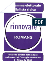 Programma elettorale lista civica Rinnovare Romans