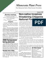 Summer 2007 Minnesota Plant Press ~ Minnesota Native Plant Society Newsletter