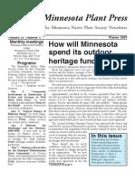 Winter 2009 Minnesota Plant Press ~ Minnesota Native Plant Society Newsletter