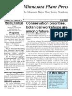 Fall 2009 Minnesota Plant Press ~ Minnesota Native Plant Society Newsletter
