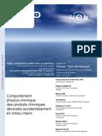 Comportement physico-chimique des produits chimiques déversés accidentellement en milieu marin