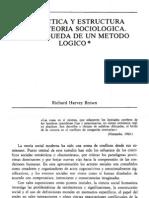 DIALÉCTICA Y ESTRUCTURA EN LA TEORÍA SOCIOLÓGICA. LA BÚSQUEDA DE UN MÉTODO LÓGICO