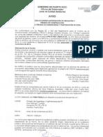 Aviso público - JCA cambio de fecha de vista pública, energy answers al 26 de noviembre de 2012