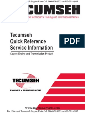 Tecumseh Quick Reference And Troubleshooting For Engines And Transmissions 695933 Carburetor Internal Combustion Engine