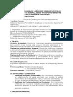 REGLAMENTO NACIONAL DE LICENCIA DE CONDUCIR VEHÍCULOS AUTOMOTORES Y NO MOTORIZADOS DE TRANSPORTE TERRESTRE
