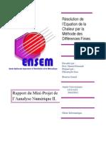 Résolution de l'Equation de la Chaleur par la Méthode des Différences Finies