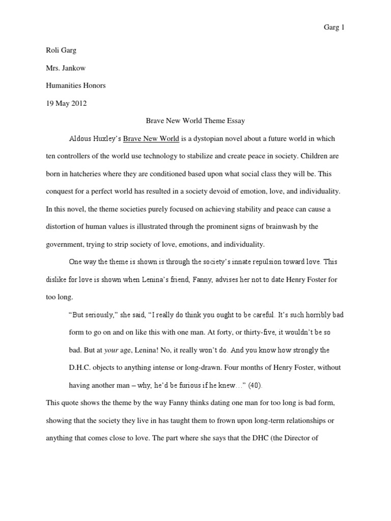 Essay brave new world performance standard practice to begin the resume with