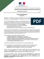Instrucciones Fiches d'appréciation 2013-2014
