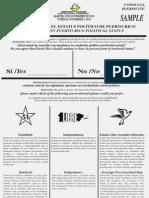 Modelo de la papeleta sobre la consulta del estatus político de Puerto Rico