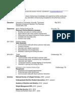 Resume Fall 2012