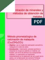 ConcentraciÃ_n de minerales y mÃ_todos de obtenciÃ_n de