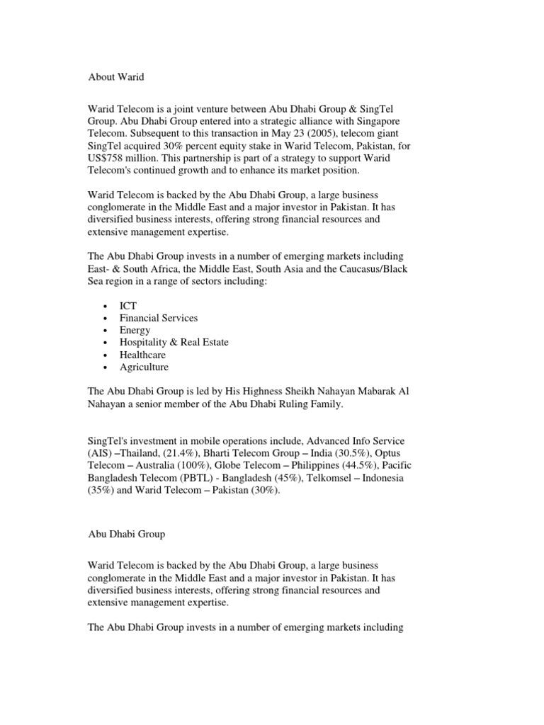 About Warid | United Arab Emirates | Companies