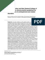 RANZCP Guidance Treatment of Schizo
