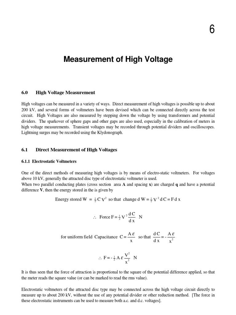 Hv Chap6 Capacitor Voltage Potential Divider For Digital Voltmeter Pic Circuit